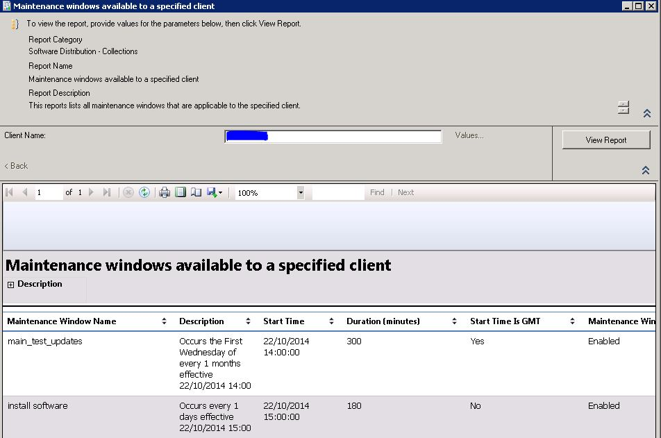 maintenance windows available specific client