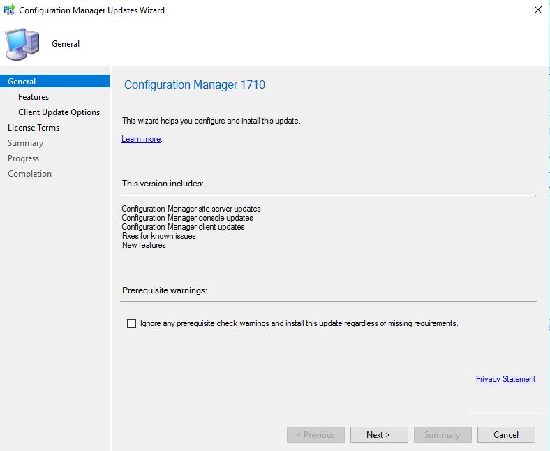 SCCM_Upgrade_1710_Install_Update_General