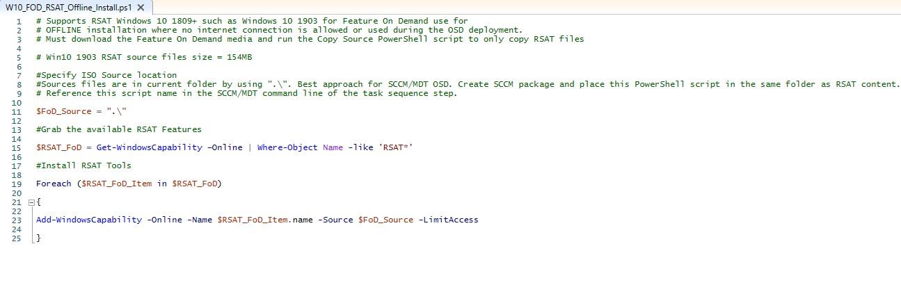 How to guide Guide RSAT Windows 10 1903 Offline FOD – SCCM